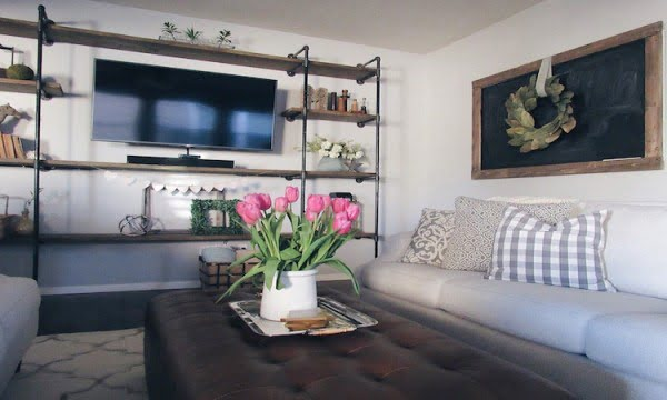 DIY Pipe Shelving Entertainment Center
