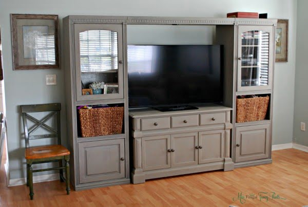 DIY Chalk Paint Entertainment Center Makeover
