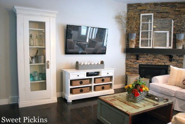 {Office Cabinet to TV Console} – before & after