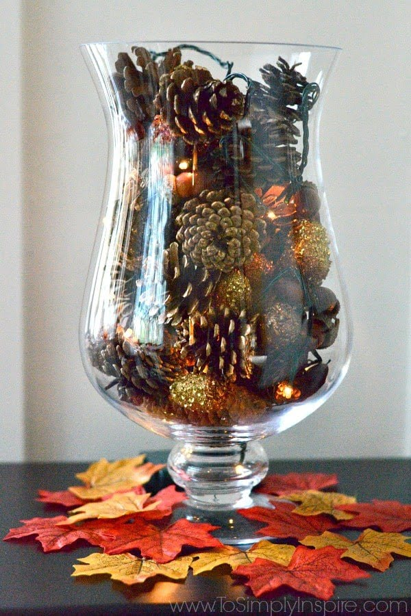 DIY Pine Cone Vase Filler with Fairy Lights