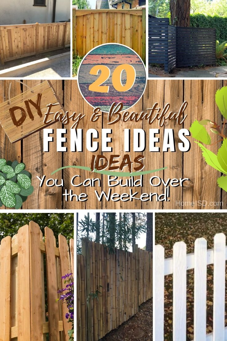 Build a beautiful DIY fence for your privacy, garden and home. These are 20 best project ideas to choose from. Great list! #DIY #woodworking #backyard #garden