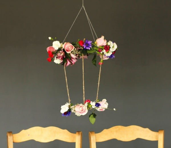Howe We Live  DIY Floral Chandelier #DIY #floral #chandelier #homedecor #lighting