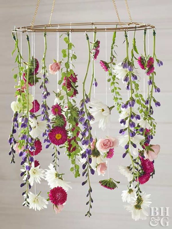 This DIY Chandelier is the Prettiest Way to Use Fresh Flowers #DIY #floral #chandelier #lighting #homedecor