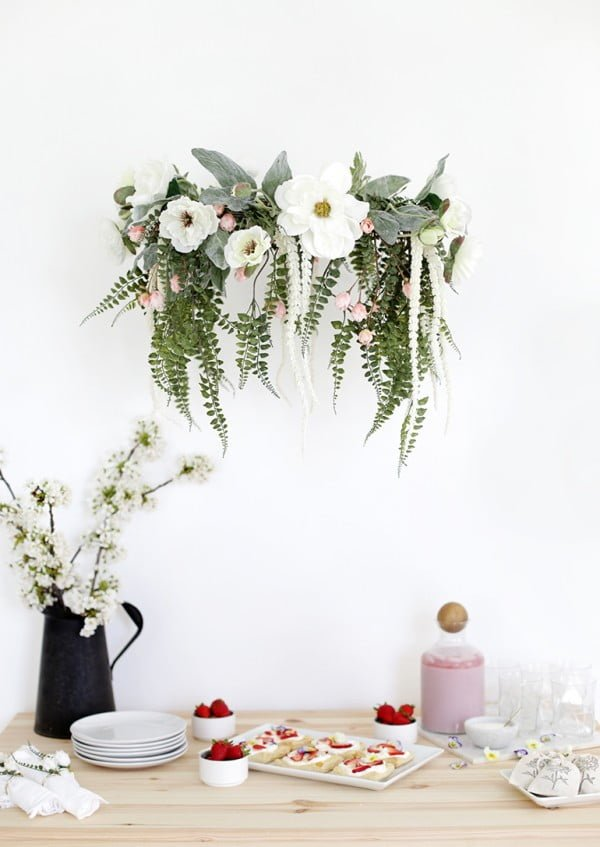 DIY Floral Chandelier #DIY #floral #chandelier #lighting #homedecor