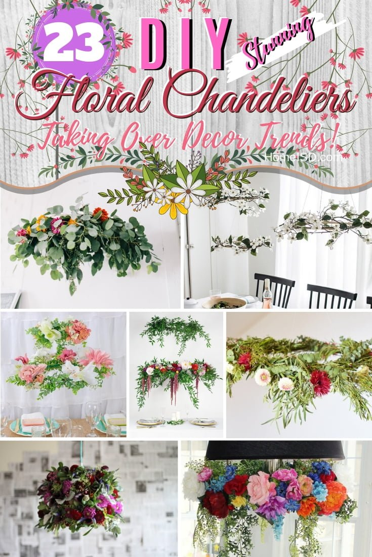 Jump the trendy decor bandwagon and make a DIY floral chandelier for a stunning decor accent and centerpiece. It's not only for weddings! Great ideas! #homedecor #DIY #floral #chandelier #lighting