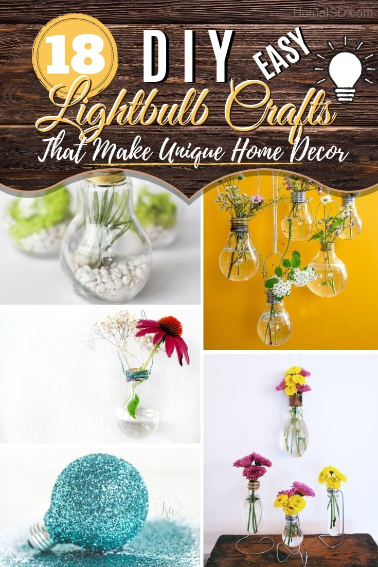 Make something truly unique for your home decor with these amazing #DIY lightbulb repurposing crafts. Great ideas! #DIY #homedecor #crafts #repurposing
