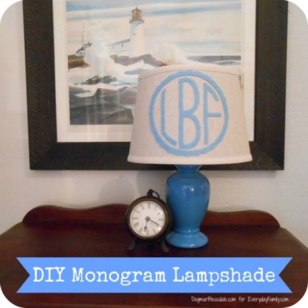 DIY Monogram Lampshade #DIY #monogram #homedecor #walldecor
