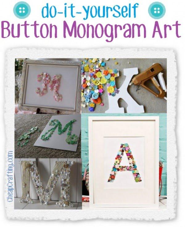 DIY Button Monogram Art Decor #DIY #monogram #homedecor #walldecor