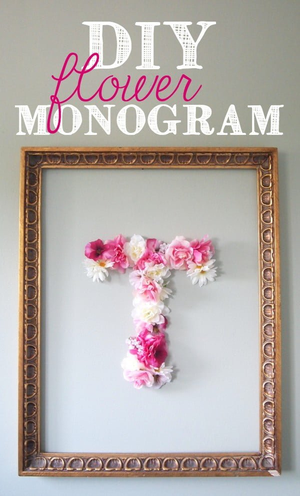 DIY Faux Flower Monogram #DIY #monogram #homedecor #walldecor