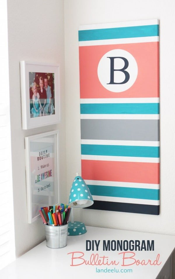 DIY Monogram Bulletin Board
