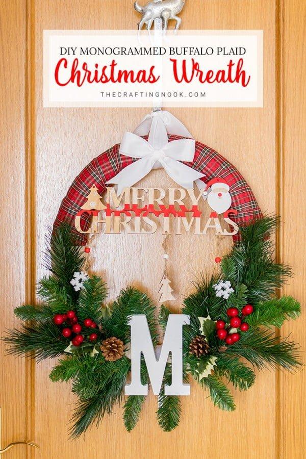 DIY Monogrammed Buffalo Plaid Christmas Wreath