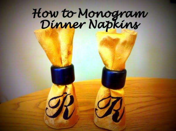 How to Monogram Cloth Dinner Napkins #DIY #monogram #homedecor #walldecor