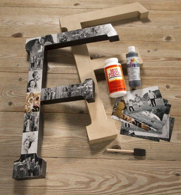DIY Monogram Photo Letter #DIY #monogram #homedecor #walldecor