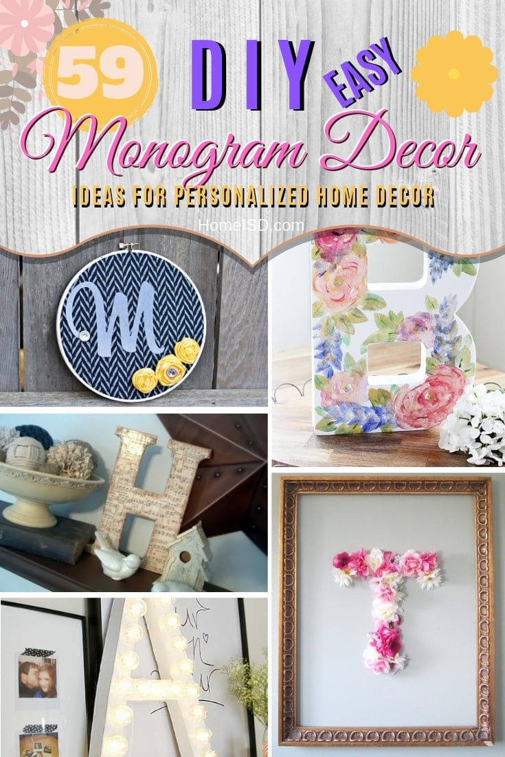 Personalize your home decor with these wonderful DIY monogram ideas. Great list! #homedecor #DIY #crafts #monogram
