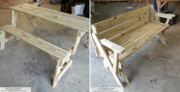 How to Make Folding Bench and Picnic Table Combo #DIY #woodworking #outdoors #backyard #garden