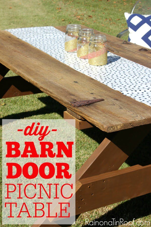 How to Build a Picnic Table out of a Barn Door #DIY #woodworking #outdoors #backyard #garden