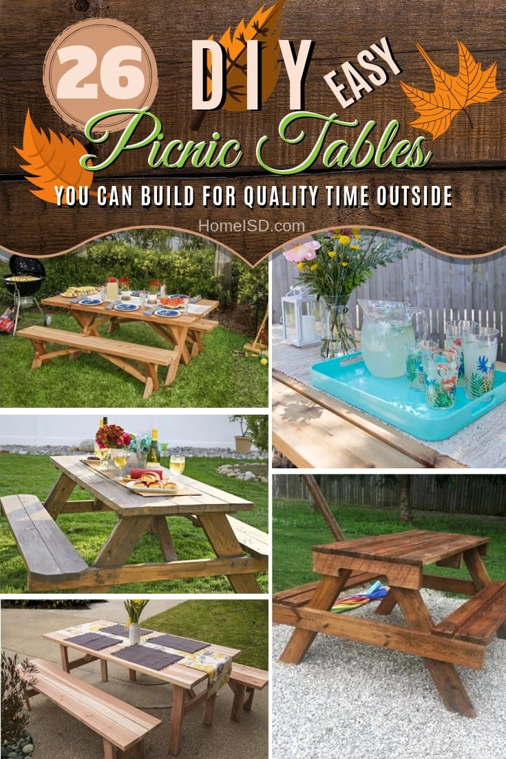 Build a DIY picnic table to spend quality time with your family outside! Great ideas! #DIY #woodworking #backyard #outdoors