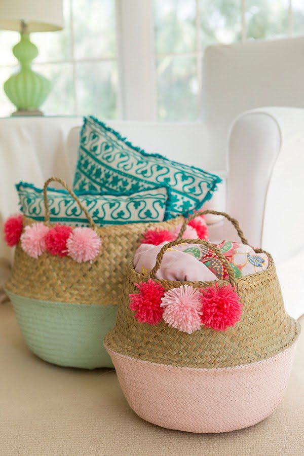 DIY Pom Pom Basket • Coastal Bride
