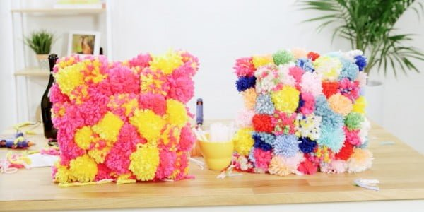 Pom-Pom Pillows Are The Ultimate Wine Night Craft