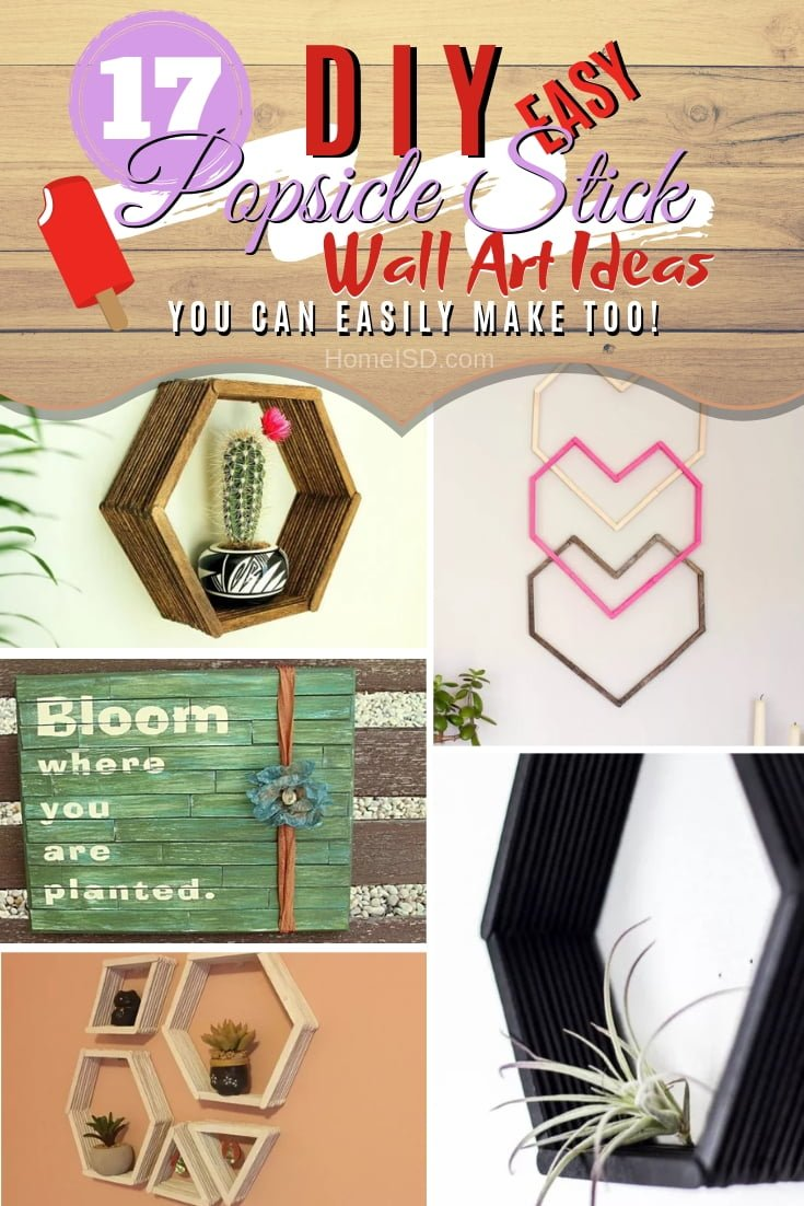 This is how you can make DIY popsicle stick wall art for amazing decor. Check out these great ideas! #DIY #homedecor #wallart