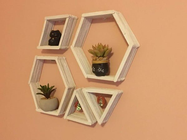 DIY Geometric Wall Shelves