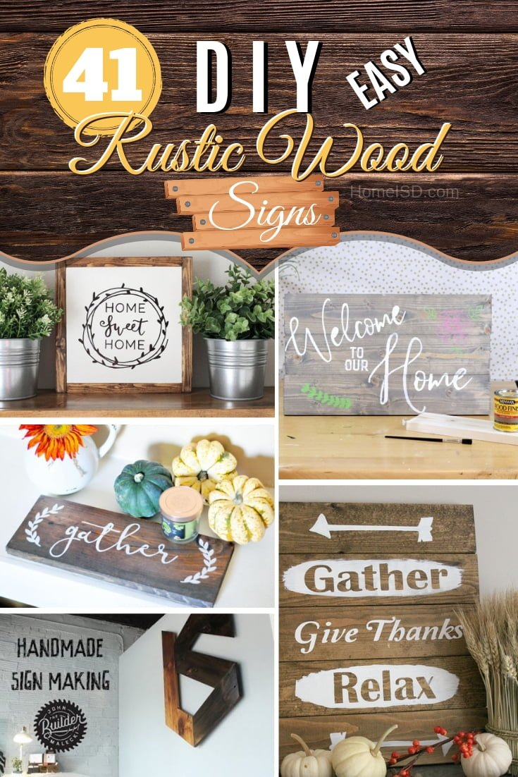 Make a DIY rustic wood sign to make trendy decor at home. Great ideas to choose from and get inspired! #DIY #woodworking #rustic #homedecor #walldecor