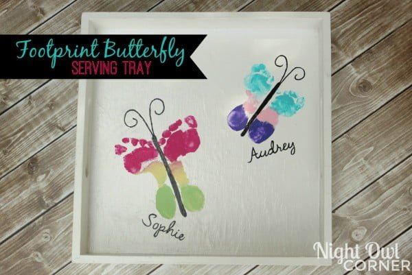 DIY Footprint Butterfly Serving Tray