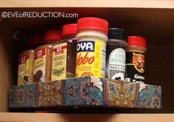 DIY Spice Rack Made from an iPad Box #DIY #organize #kitchendesign #homedecor