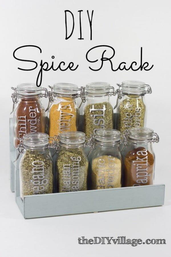 DIY Spice Jar Rack #DIY #organize #kitchendesign #homedecor