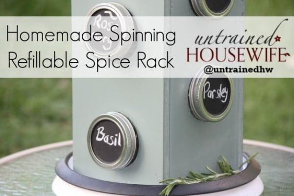 DIY Mason Jar Spinning Spice Rack #LowesCreator #DIY #organize #kitchendesign #homedecor