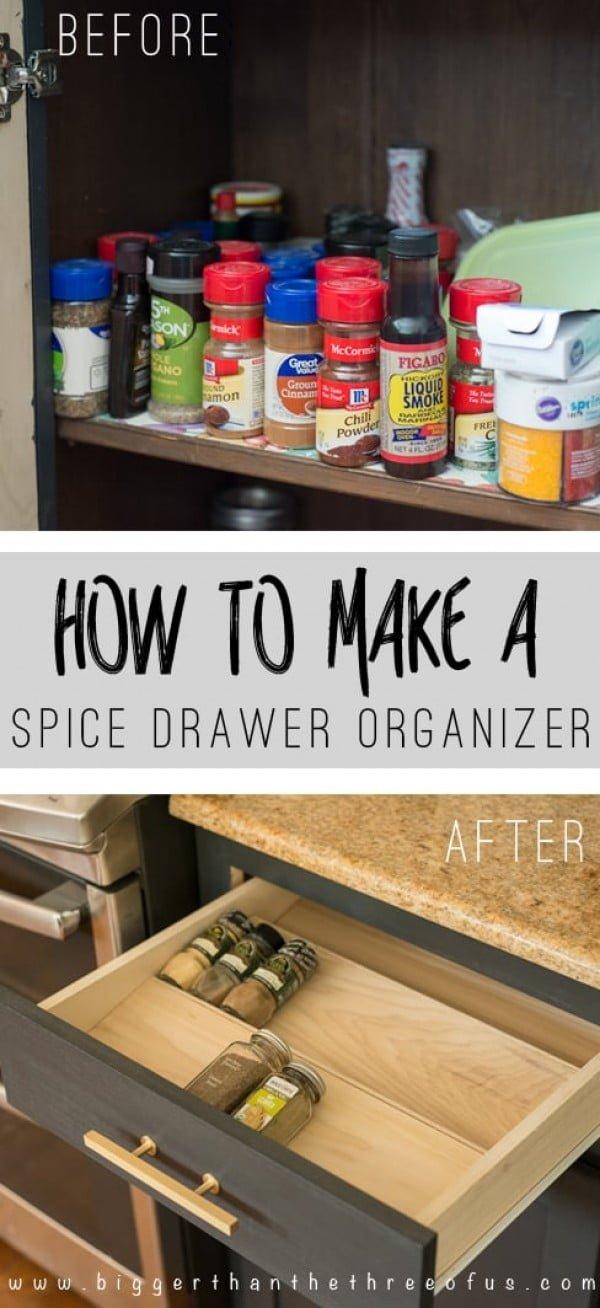 Get Organized with this DIY Spice Drawer Organizer #DIY #organize #kitchendesign #homedecor