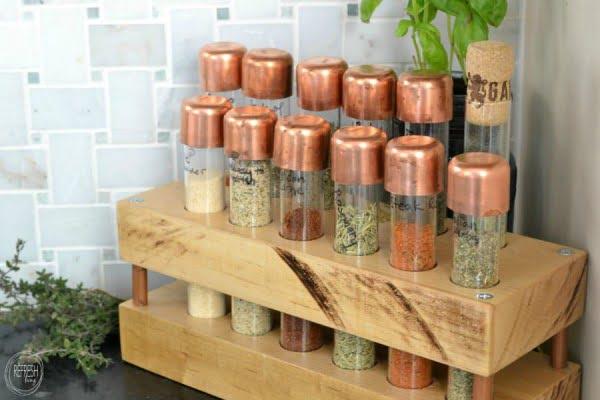 DIY Spice Rack with Test Tubes #DIY #organize #kitchendesign #homedecor