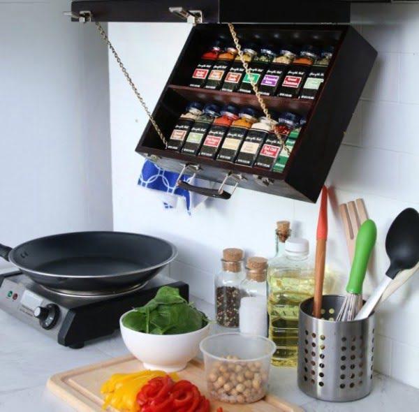 DIY: TURN AN OLD ART BOX INTO A FOLD-DOWN SPICE RACK #DIY #organize #kitchendesign #homedecor