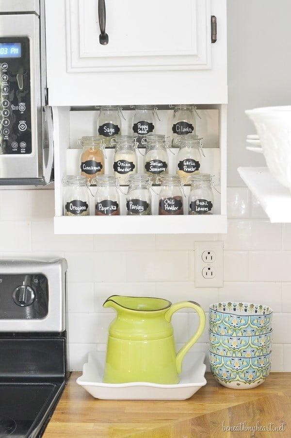 DIY {Undermount} Spice Rack #DIY #organize #kitchendesign #homedecor