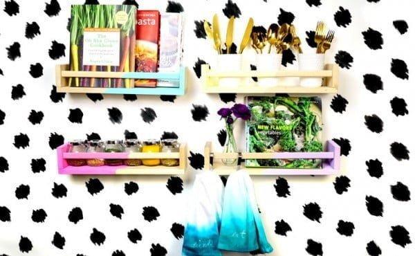 DIY Color Block Ikea Spice Rack Storage Hack – Makeful #DIY #organize #kitchendesign #homedecor