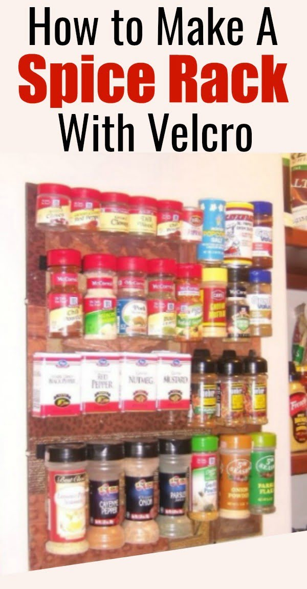 How to Make a DIY Spice Rack Using Velcro and a Picture Frame #DIY #organize #kitchendesign #homedecor