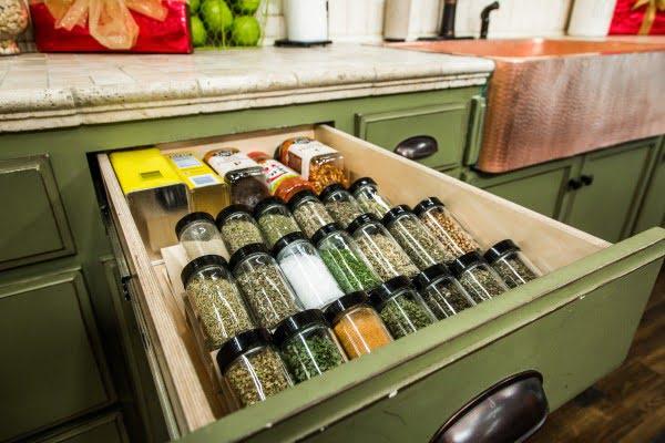 DIY Spice Drawer #DIY #organize #kitchendesign #homedecor