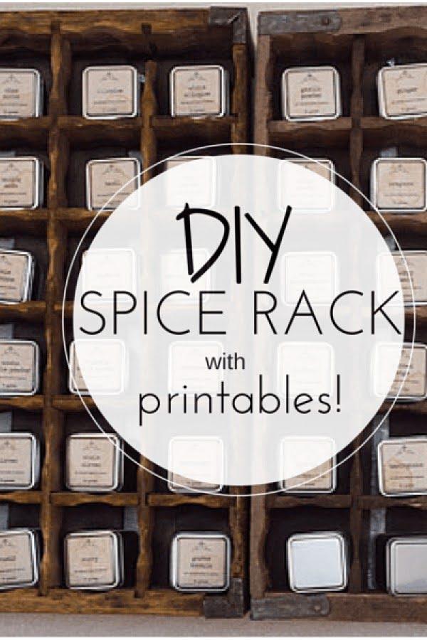 DIY Spice Rack Tutorial & Printables #DIY #organize #kitchendesign #homedecor