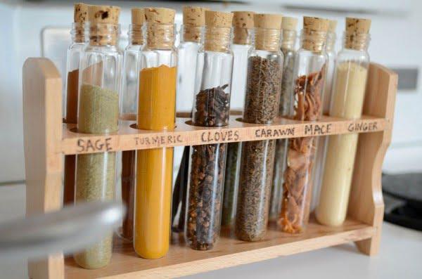 DIY test tube spice rack #DIY #organize #kitchendesign #homedecor