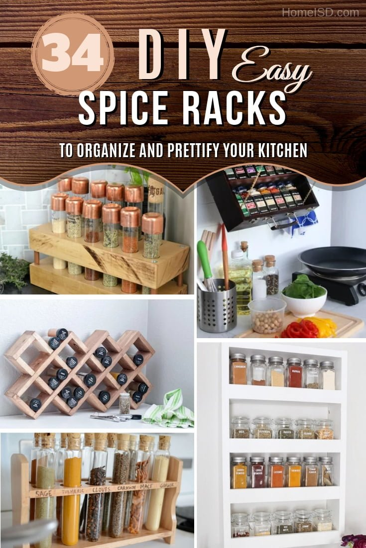 Organize your spices and improve kitchen decor at the same time. Here are 34 easy and functional ideas to choose from! #DIY #kitchendesign #homedecor #organize