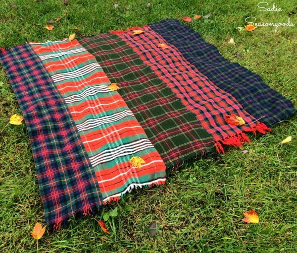DIY Cozy Throw Blanket using Vintage Plaid Wool Scarves for Fall / Winter
