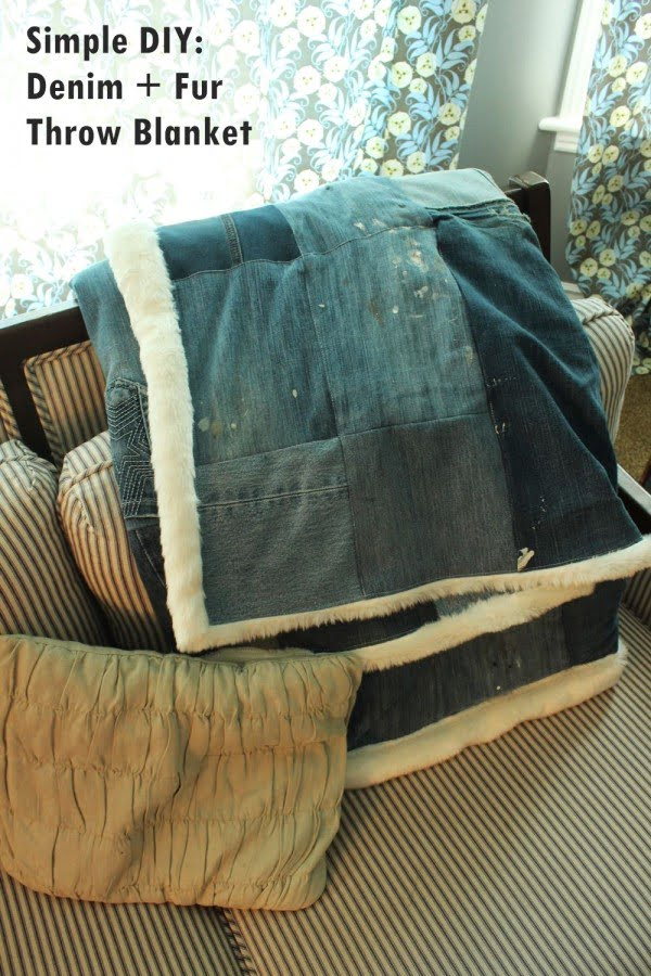 DIY Denim and Faux Fur Throw Blanket – Chic & Cozy for Fall! #DIY #homedecor #crafts
