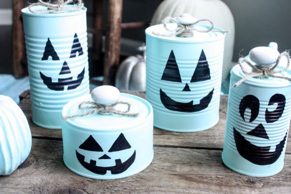 DIY Tin Can Pumpkins #DIY #homedecor #tincan #crafts #repurpose #upcycle