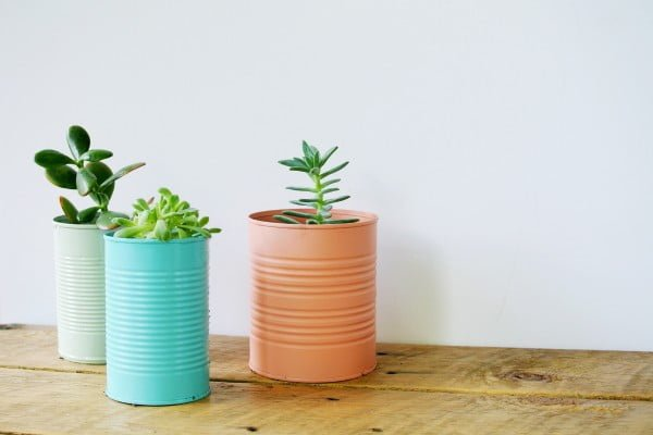 Easy DIY Tin Can Planters #DIY #homedecor #tincan #crafts #repurpose #upcycle