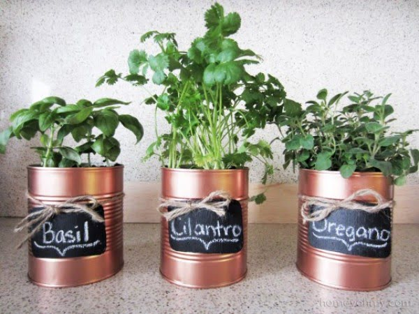 DIY Copper Tin Can Planters and Chalkboard Tags #DIY #homedecor #tincan #crafts #repurpose #upcycle