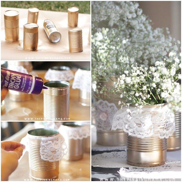 DIY Shabby Chic Tin Can + Lace Centerpiece • The Pinning Mama #DIY #homedecor #tincan #crafts #repurpose #upcycle
