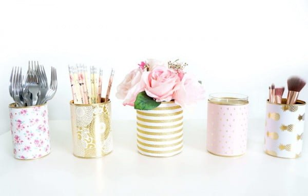 DIY Decorative Tin Can Vases #DIY #homedecor #tincan #crafts #repurpose #upcycle