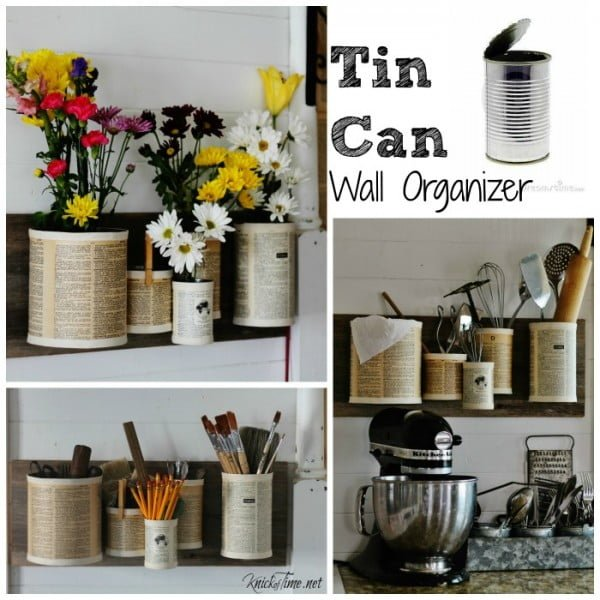 Tin Can Wall Organizer #DIY #homedecor #tincan #crafts #repurpose #upcycle