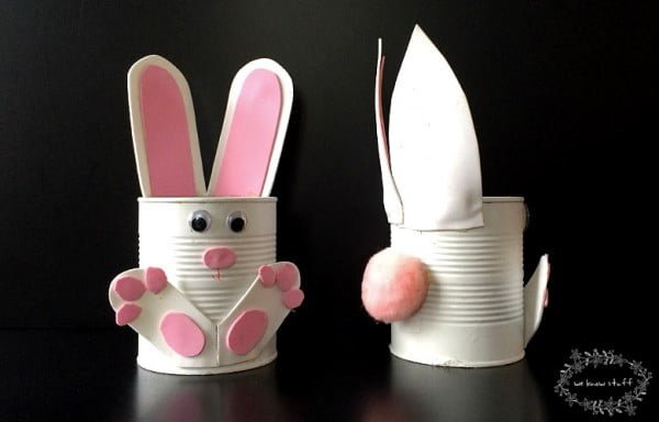 How To Make Adorable Tin Can Bunny Planters For Spring! #DIY #homedecor #tincan #crafts #repurpose #upcycle