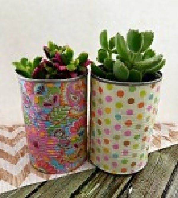 DIY Tin Can Planters: Decoupage Tin Can Planters #DIY #homedecor #tincan #crafts #repurpose #upcycle